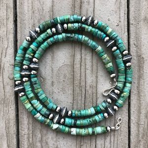 Boho Green Turquoise & Desert Pearl Necklace